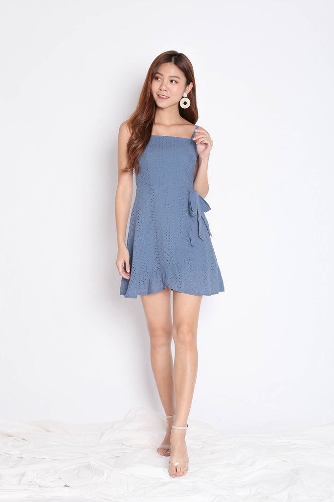 (PREMIUM) MAZEL EYELET WRAP DRESS IN STALE BLUE - TOPAZETTE