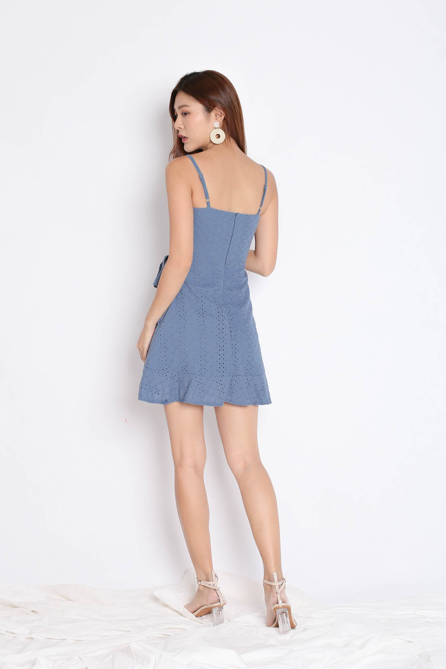 (PREMIUM) MAZEL EYELET WRAP DRESS IN STALE BLUE