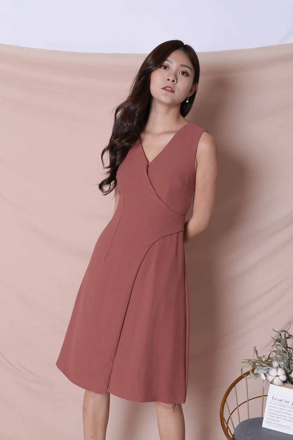 *TPZ* (PREMIUM) ULISSA OPEN BUTTON DRESS IN DUSTY CORAL