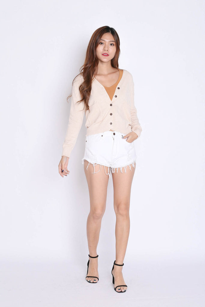 DULCE SOFT KNIT CARDIGAN IN CREAM - TOPAZETTE