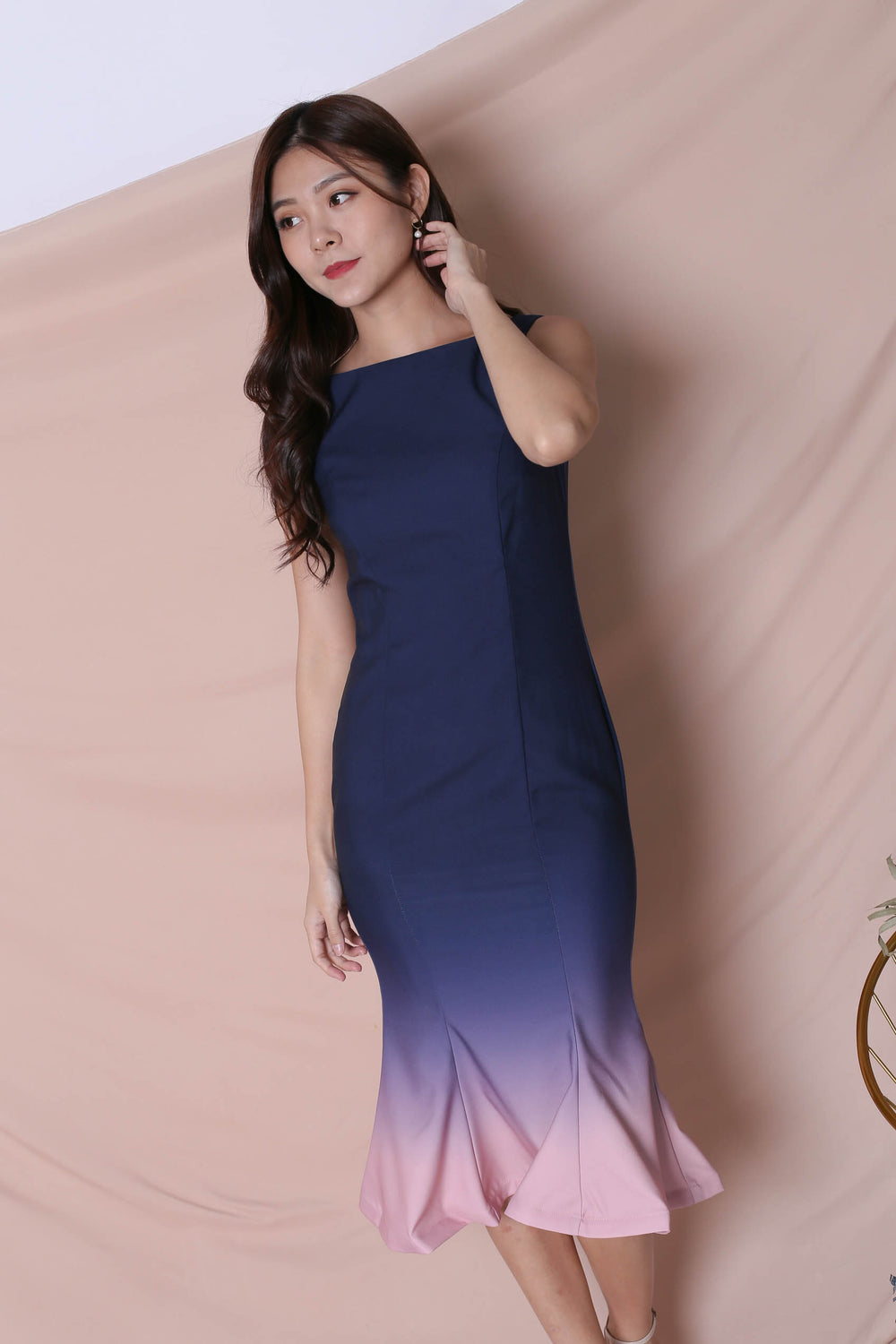 *TPZ* (PREMIUM) MERMAID-ZING OMBRE DRESS (NAVY/ PINK)