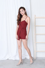 *RESTOCKED* BYN OVERLAP ROMPER IN WINE