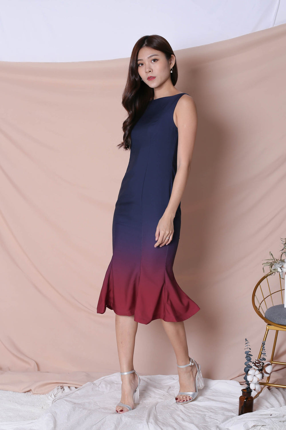 *TPZ* (PREMIUM) MERMAID-ZING OMBRE DRESS (NAVY/ BURGUNDY)