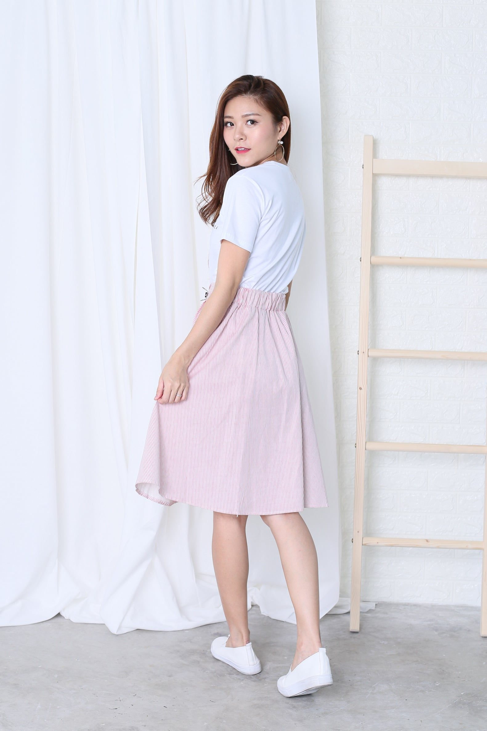 LONDYN BUTTONED UP STRIPES SKIRT IN BLUSH