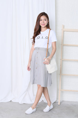 LONDYN BUTTONED UP STRIPES SKIRT IN LIGHT GREY