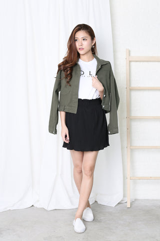 OFF DUTY DENIM JACKET IN ARMY GREEN
