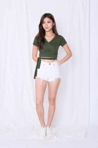 *BACKORDER* WRAP ME UP TOP IN ARMY GREEN