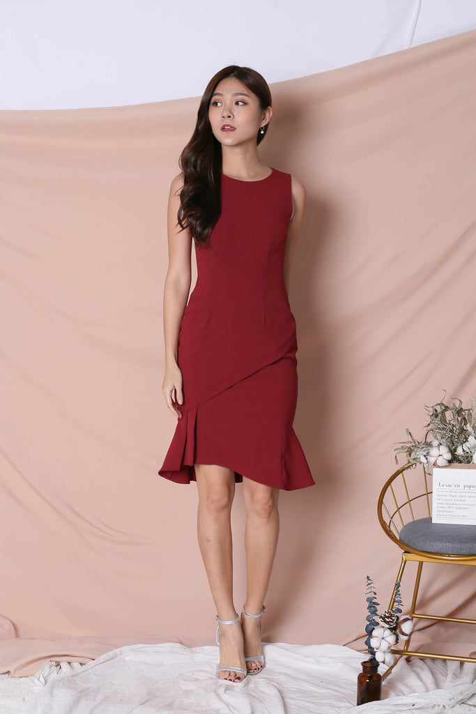 *TPZ* (PREMIUM) VIOLETTA DRESS IN WINE - TOPAZETTE