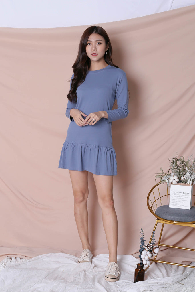 BASIC COTTON DROP WAIST DRESS (LONG SLEEVES) IN CORNFLOWER BLUE - TOPAZETTE