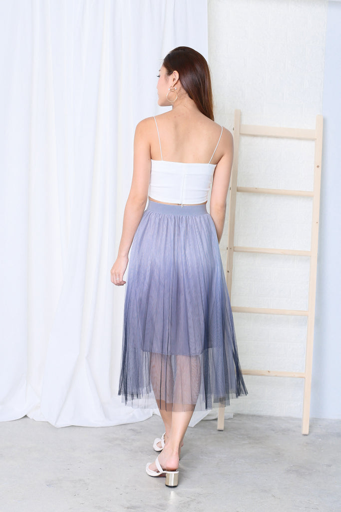 BEL OMBRE TULLE SKIRT (GREY/NAVY) - TOPAZETTE