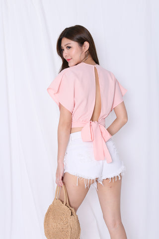 RAE OPEN BACK TOP IN BABY PINK