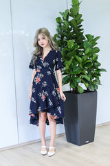EIRA FLORAL WRAP DRESS IN NAVY