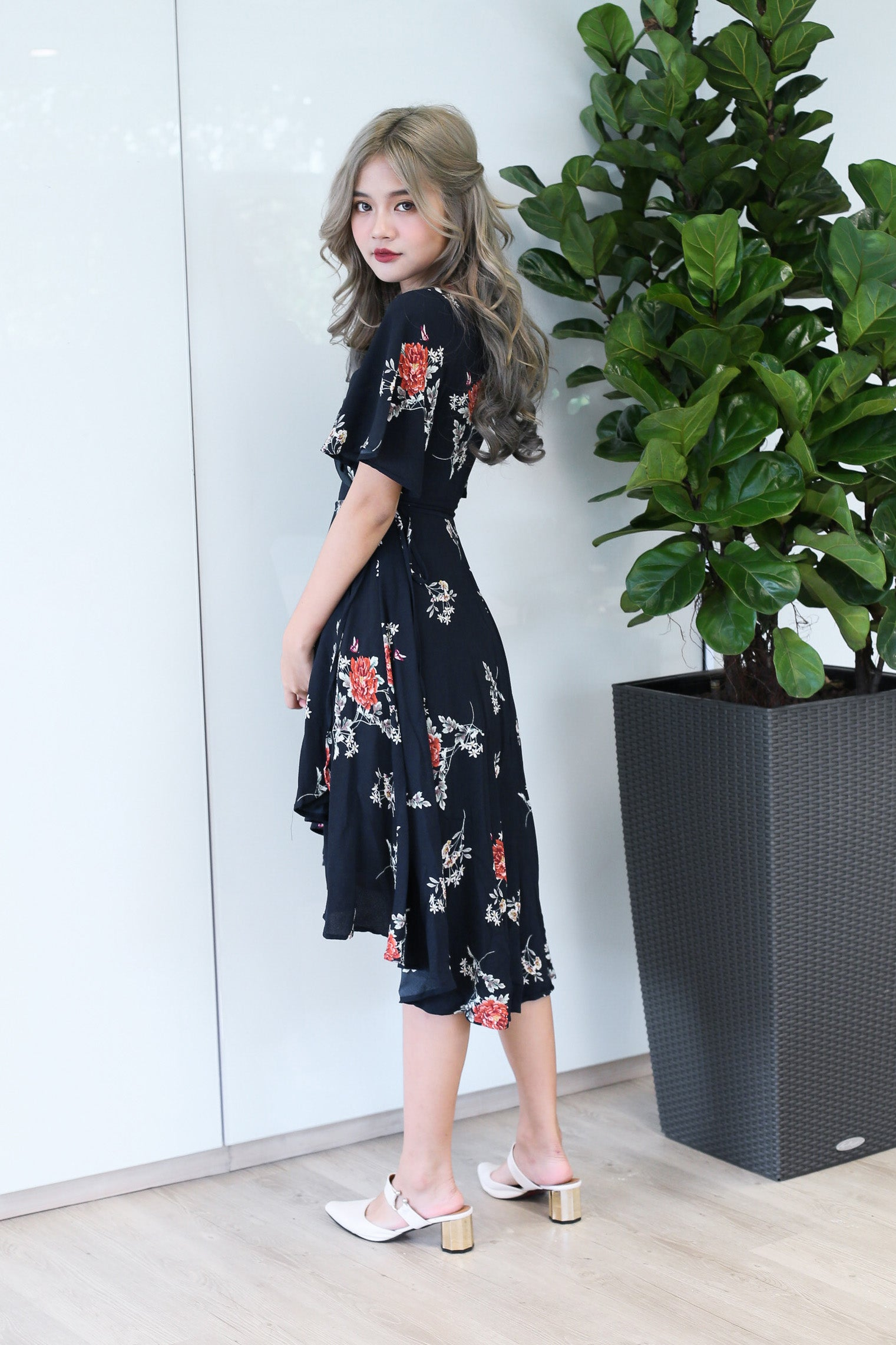 EIRA FLORAL WRAP DRESS IN BLACK