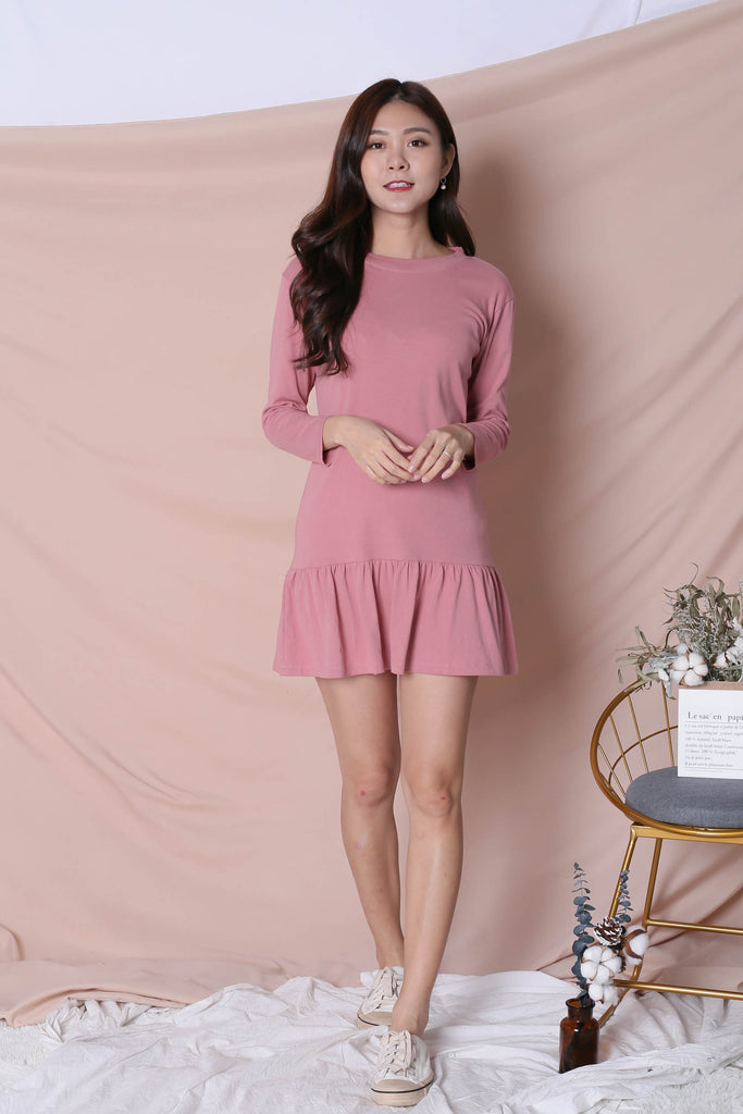 *BACKORDER* BASIC COTTON DROP WAIST DRESS (LONG SLEEVES) IN PINK - TOPAZETTE