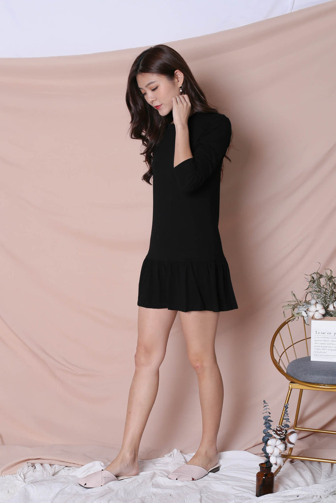 *BACKORDER* BASIC COTTON DROP WAIST DRESS (LONG SLEEVES) IN BLACK - TOPAZETTE