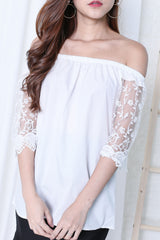 ORGANZA CROCHET SLEEVES TOP IN WHITE