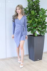 *RESTOCKED* DRAPE WRAP DRESS IN CORNFLOWER BLUE