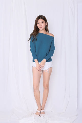 LEIA SLOUCH KNIT TOP IN CERULEAN