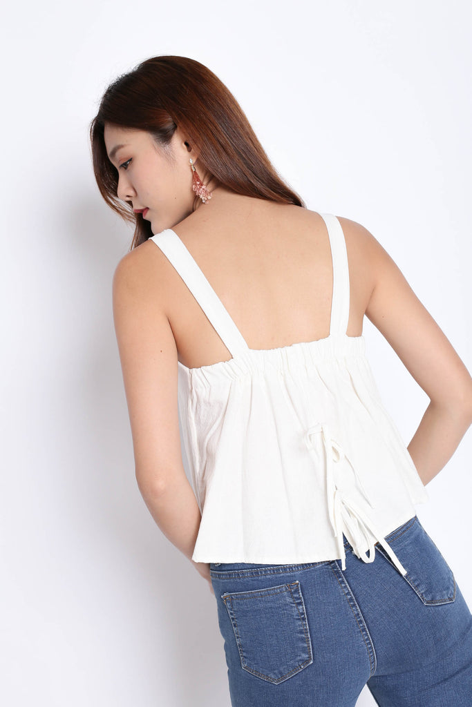 LINEN DOUBLE RIBBON BACK TOP IN OFF WHITE