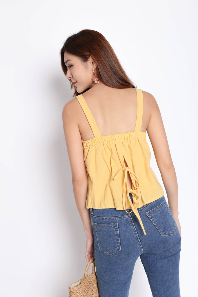 LINEN DOUBLE RIBBON BACK TOP IN SUNSHINE