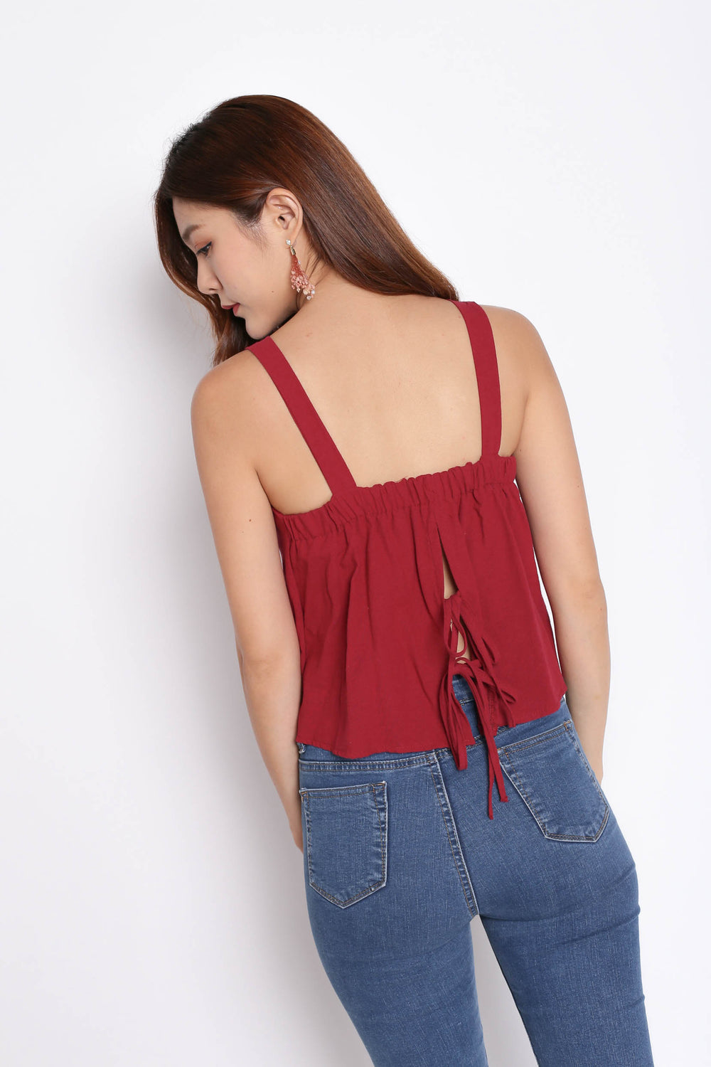 LINEN DOUBLE RIBBON BACK TOP IN WINE