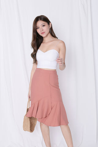 PRETZ RUFFLES MERMAID SKIRT IN SALMON PINK