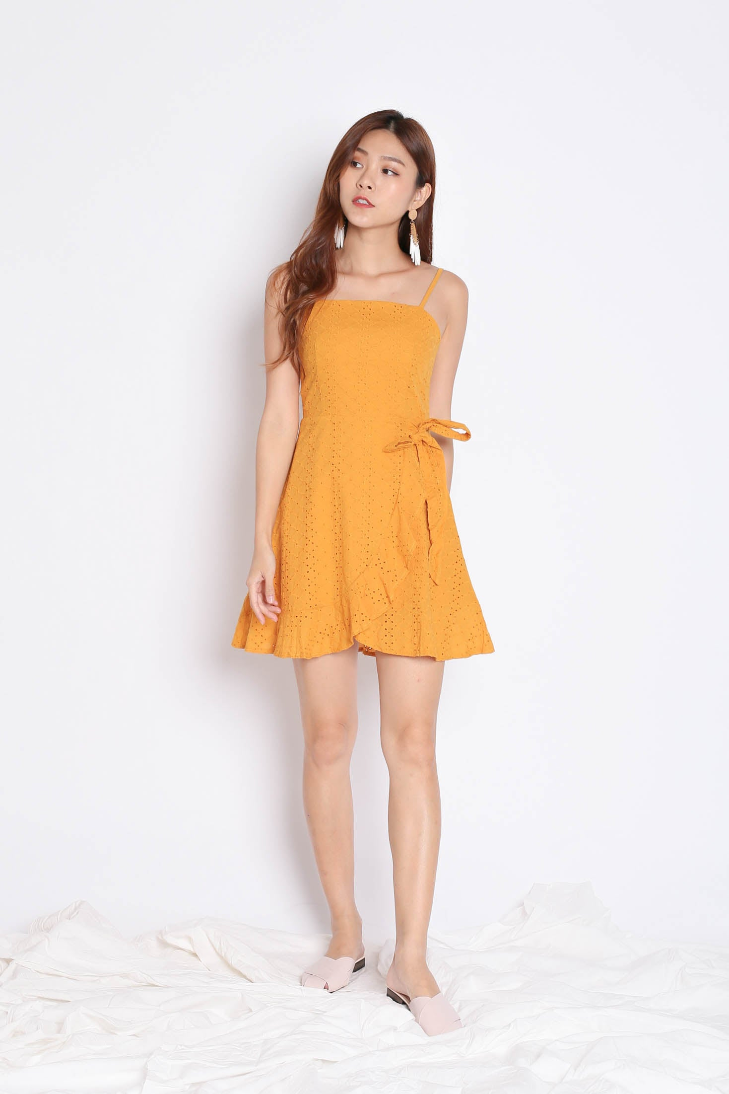 (PREMIUM) MAZEL EYELET WRAP DRESS IN MARIGOLD