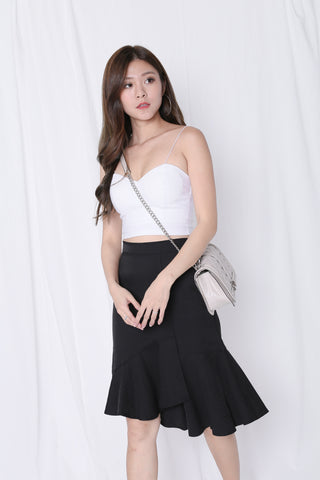 PRETZ RUFFLES MERMAID SKIRT IN BLACK