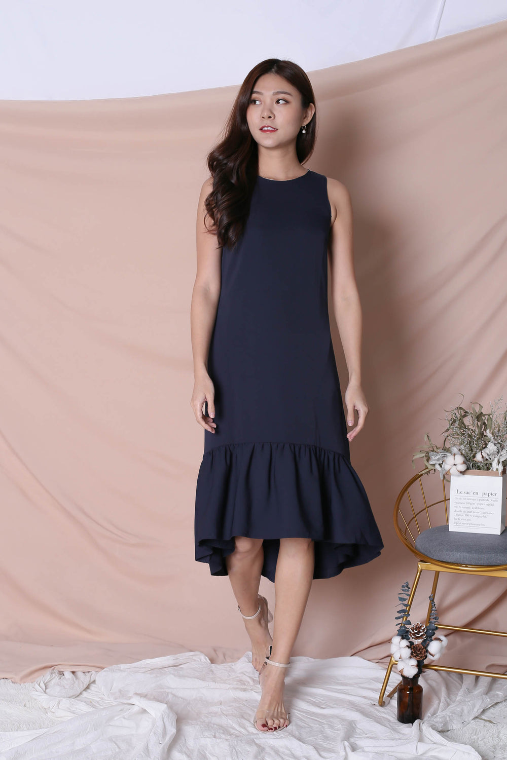 *TPZ* (PREMIUM) INNIS REVERSIBLE ASYMMETRICAL DROPHEM DRESS (NAVY/ MINT)