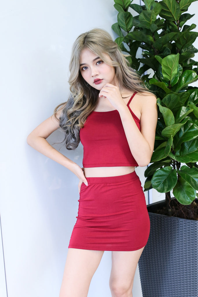 ZYRA OFF DUTY 2 PC SET IN WINE