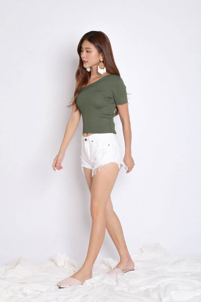 GO GIRL TOGA KNIT TOP IN ARMY GREEN - TOPAZETTE