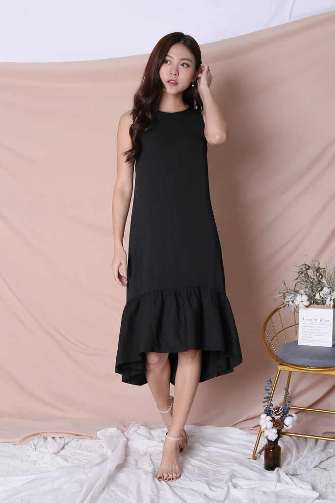 *TPZ* (PREMIUM) INNIS REVERSIBLE ASYMMETRICAL DROPHEM DRESS (BLACK/ TEA ROSE) - TOPAZETTE