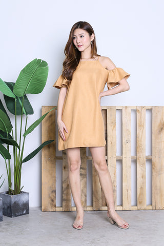 ARIELE FLUTTER COLD SHOULDER DRESS IN CAMEL