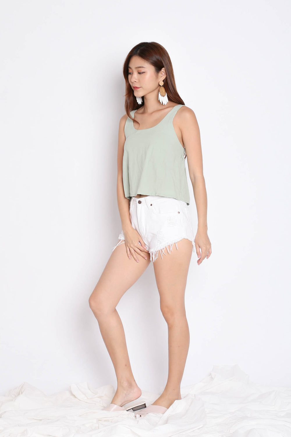 LINEN DOUBLE RIBBON BACK TOP IN MINT