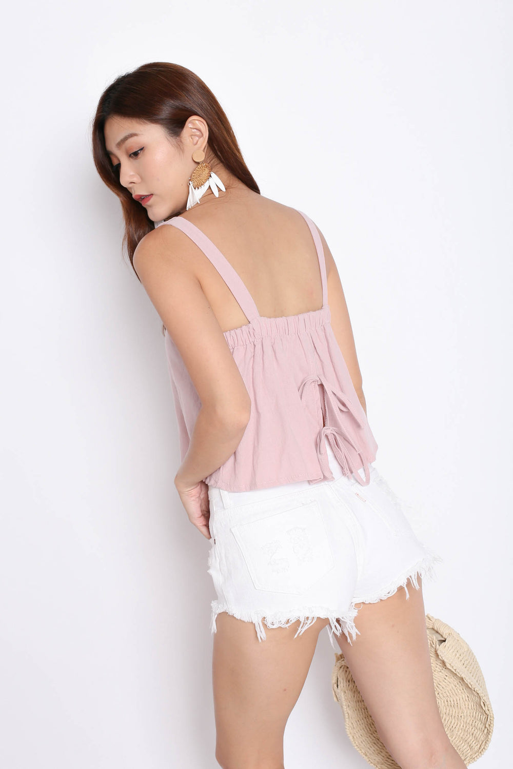 LINEN DOUBLE RIBBON BACK TOP IN DUSTY PINK