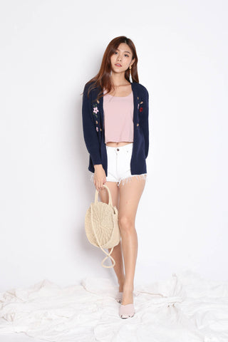 DILYS FLORAL EMBROIDERY CARDIGAN IN NAVY