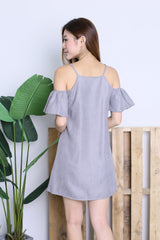ARIELE FLUTTER COLD SHOULDER DRESS IN GREY
