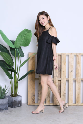 ARIELE FLUTTER COLD SHOULDER DRESS IN BLACK