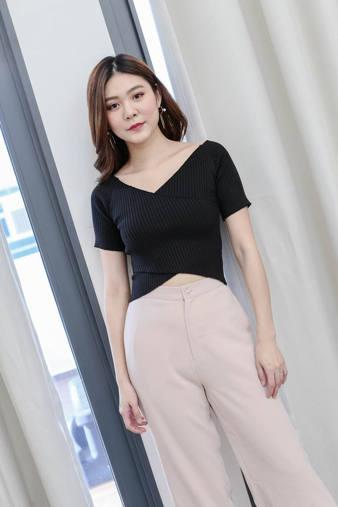 *BACKORDER* WILLA BASIC KNIT TOP IN BLACK