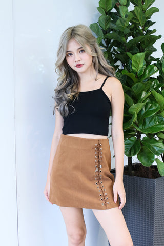 SUEDE LACED UP SKIRT IN CAMEL