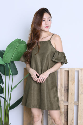 ARIELE FLUTTER COLD SHOULDER DRESS IN OLIVE