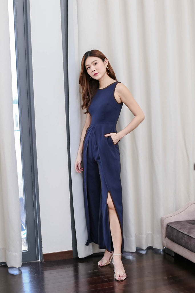 *TPZ* (PREMIUM) GIRL BOSS JUMPSUIT IN NAVY