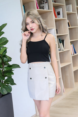 TAYE LEATHER SKIRT IN LIGHT GREY