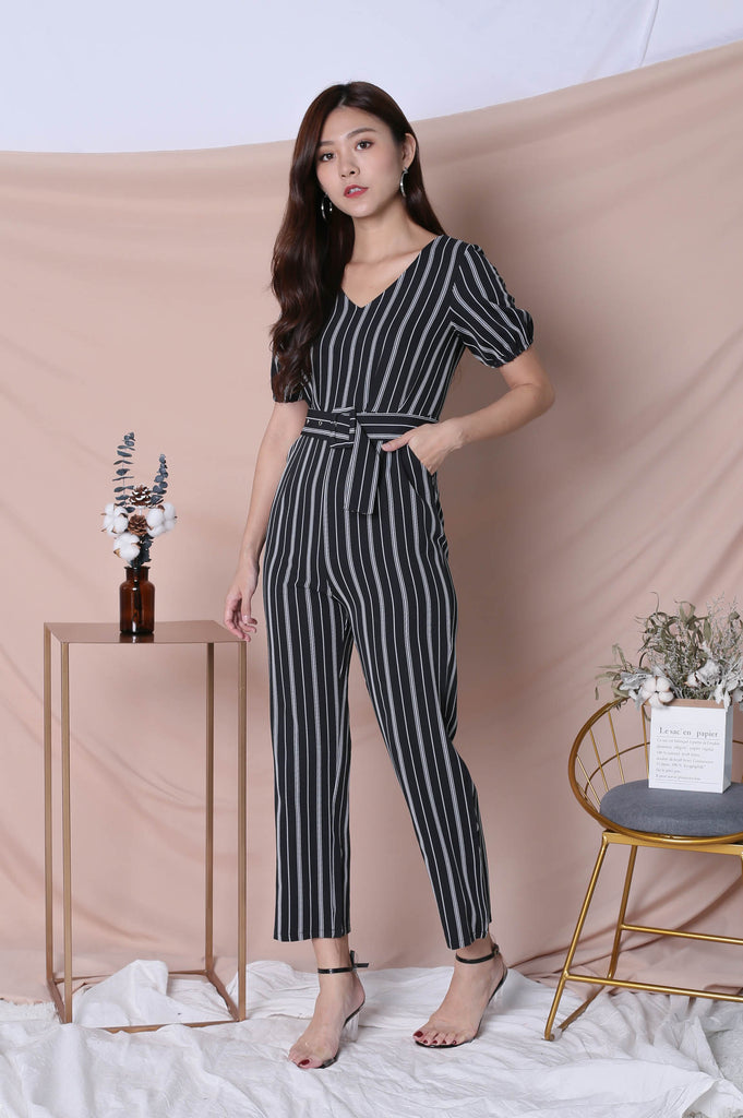*TPZ* (PREMIUM) AVIA STRIPES JUMPSUIT IN BLACK