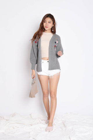 DILYS FLORAL EMBROIDERY CARDIGAN IN GREY