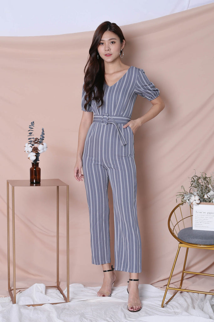 *TPZ* (PREMIUM) AVIA STRIPES JUMPSUIT IN GREYISH BLUE