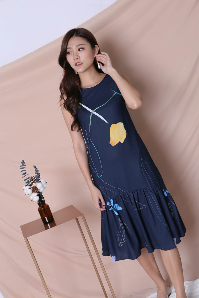 *TPZ* (PREMIUM) NIKO ABSTRACT DRESS IN NAVY