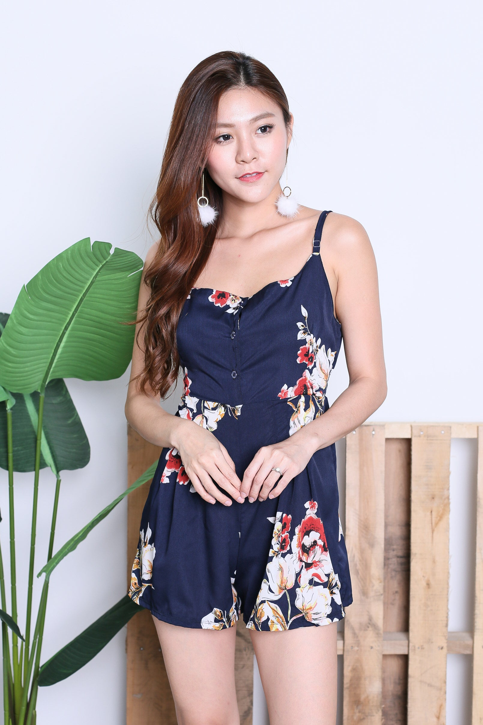 CHRISSY FLORAL ROMPER IN NAVY
