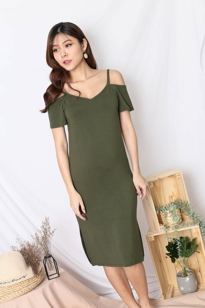 REAGAN COLD SHOULDER RELAXED DRESS IN OLIVE