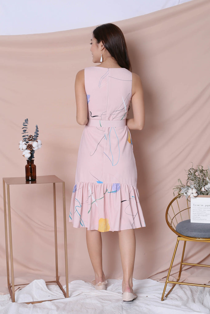 *TPZ* (PREMIUM) NIKO ABSTRACT DRESS IN PINK - TOPAZETTE